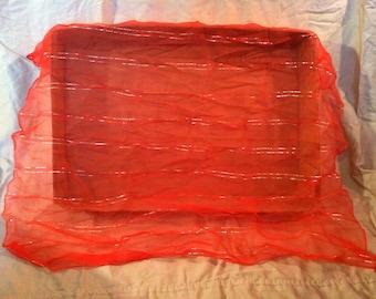 Vintage red sheer scarf