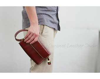 Leather Handmade Clutch Bag with 2 Functions  ( 2 long straps : it can be used as a shoulder clutch bag or as a crossbody bag ).