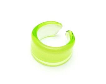 Vintage Green Handblown Glass Ring