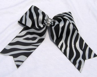 Cheer Bow - Large Black and Glitzy Silver Shiny glitter Zebra Print Girls Cheer Bow