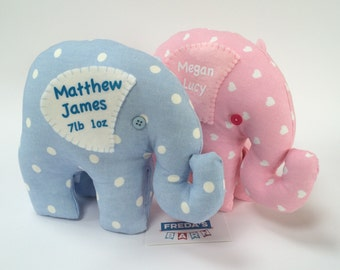 Handmade Elephant Doorstop / Bookend in Blue or Pink Personalise with Baby Name Made to order by Freda's Barn