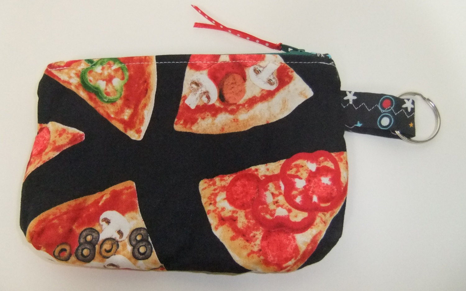 Zip pouch phone pouch pizza fabric for Space pizza fabric