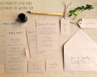 Kraft & calligraphy wedding invites