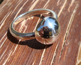 Silver half sphere ring