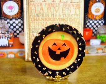 Pumpkin Halloween Miniature Plate for Dollhouse 1:12 scale