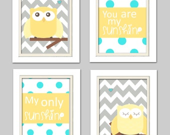 gray yellow and turquoise nursery, Nursery Owl Art, Grey and Yellow Nursery, Owl Nursery, Set of 4 8x10