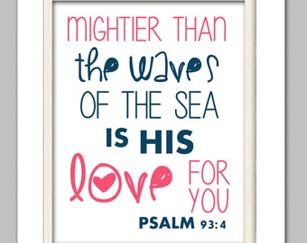 Psalm 93:4, Scripture print, Pink and navy scripture print, Nautical print