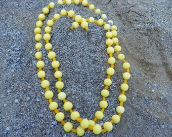 Vintage Yellow Glass Bead Necklace Opera Length