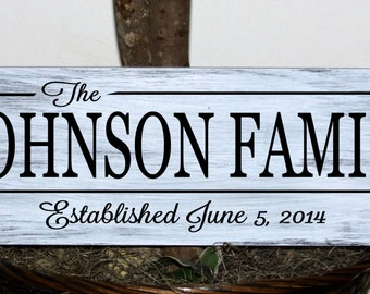 Primitive - Family name sign with established date wood sign