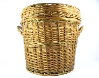 Wicker hamper,Basket, wicker basket, vegetable basket, round basket, medium basket, fruit basket,