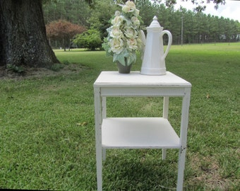 Shabby Chic table, square end table,Ornate side Table, End Table,OOAK  Table,vintage table,