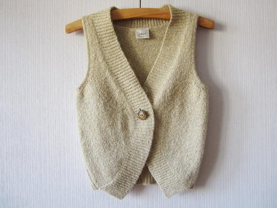 Ivory Beige Sweater Vest Mohair blend Knit Winter Pullover