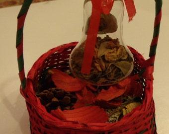 Basket Popourri and Glass Ornament Decor