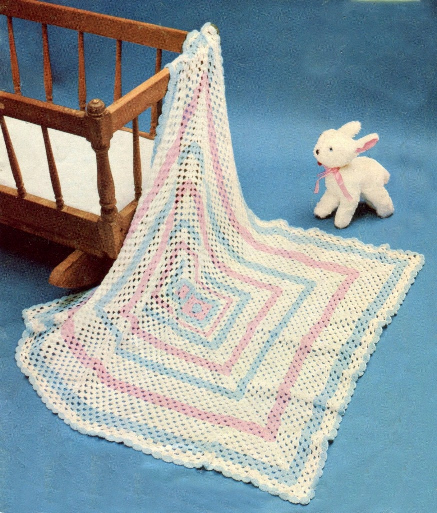 INSTANT CROCHET Pattern EASY Baby Blanket Shawl 3 or 4