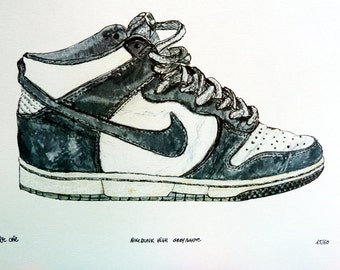 """Print of an original drawing by Faye One. Nike dunk high sneakers. """"Nike dunk grey/white"""". Signed. Decoration. Limited edition of 60 copies."""