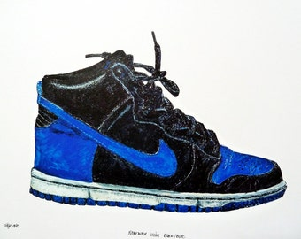 """Print of an original drawing by Faye One. Nike dunk high sneakers. """"Nike dunk black/blue"""". Signed. Decoration. Limited edition of 20 copies."""