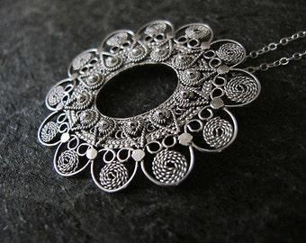Filigree necklace, Filigree silver necklace, Silver necklace,  Ethnic necklace,Israel jewelry, Yemenite jewelry