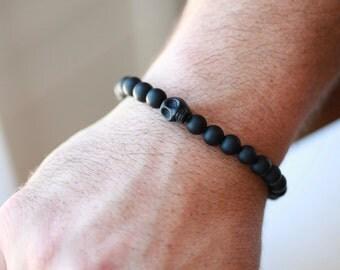 8MM Mens SKULL Bracelet - Skull Bracelet - Mens Black Onyx Stone Skull Bracelet