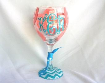 Monogram Wine Glass Swirls Personalized Custom Name Sorority Birthday Bride Glass Wedding Shower Bachelorette Bridesmaid Wine Glass