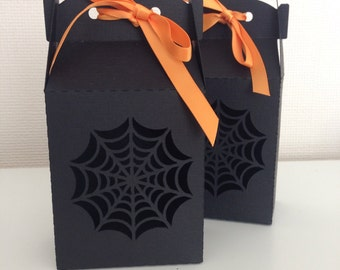 Halloween Gift Treat Black Gable Box With Spiders Web Cut Out