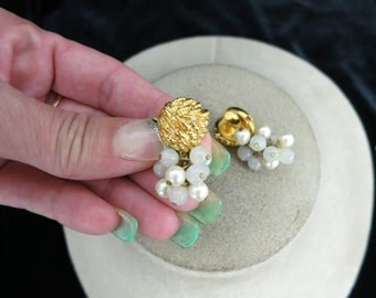 Vintage Clear Glass & Faux Pearl Earrings