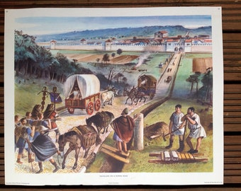 1950s MacMillans History school poster - Travellers on a Roman Road