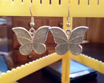 30% DISCOUNT SALE Vintage Sterling Silver Glitter Butterfly Earrings