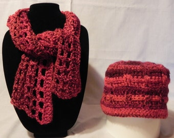 Red Varigated Crochet Scarf  and Hat