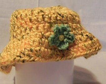 Women's Yellow Varigated Crochet Hat with Flower