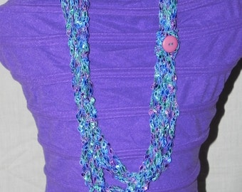 Teal, Purple, and Blue Chain Crochet Ladder Ribbon Yarn Necklace Scarf with Button