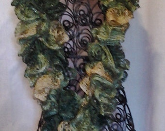 Green & Tan Varigated Ruffle Knit Scarf