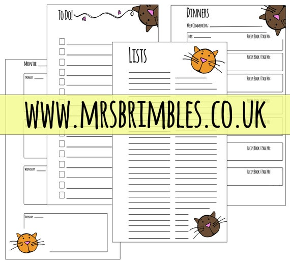 Cute Kitty Cat - Filofax Inserts - Downloadable and Printable - Personal Size