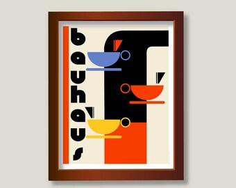 Bauhaus Kitchen Art Poster Print : Coffee or Tea - 11 x 14