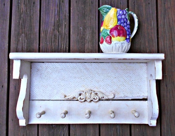 Decorative Wall Shelf With Hooks Mantle Rack : Wood wall shelf mantle pegs antiqued look coat