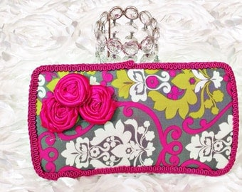 Baby wipe case, diaper bag clutch, hot pink, lime green, grey, white