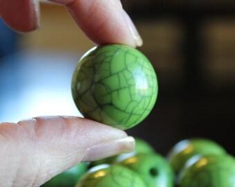 8 XL chunky imitation turquoise acrylic beads, 23 mm green, hole 3 mm