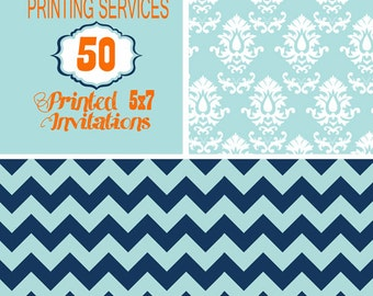 Printing Services for 50, 5X7 size invitation including envelopes