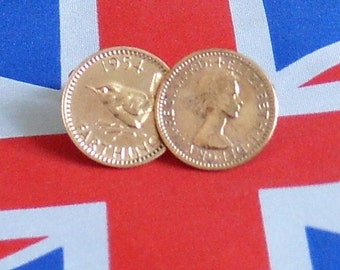 Boxed Pair Vintage British 1954 Farthing Coin Cufflinks Wedding 62nd Birthday