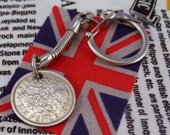 Lucky 1954 6d Sixpence English Coin Keyring Key Chain Fob Queen Elizabeth II