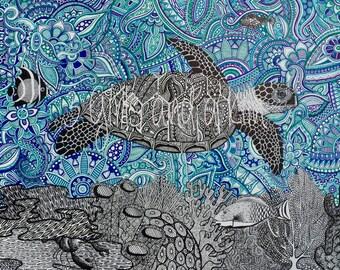 Cayman Sea Turtle Zentangle Drawing, 8x10 print