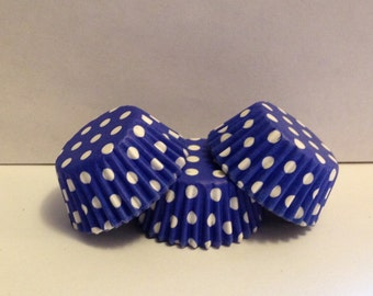 50 count - Grease Resistant Bright Blue with White Polka dots mini size cupcake liners/baking cups
