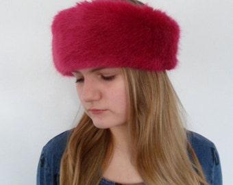 SALE/luxury faux fur headbank in pink