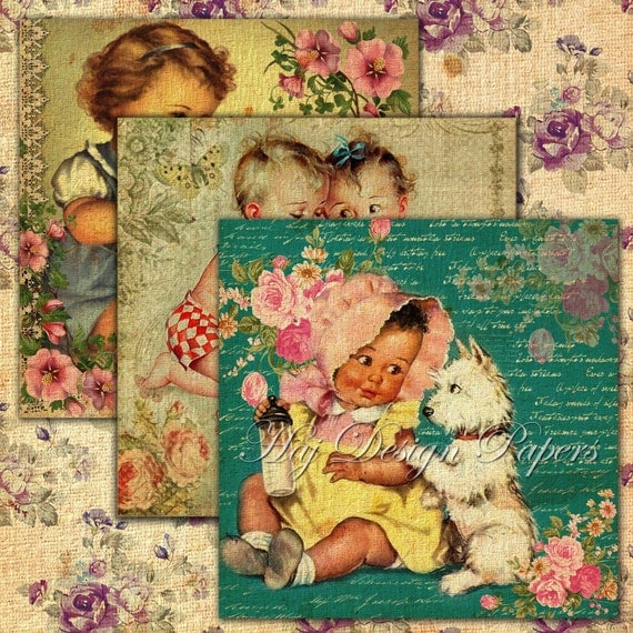 vintage collage baby sheets addition