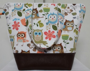 Insulated Lunch Bag,Vinyl Bottom, Owls,Birds, Nylon Liner with Inner Zipper Pocket,Work Lunch Bag,Reusable, Washable,School Lunch Bag,