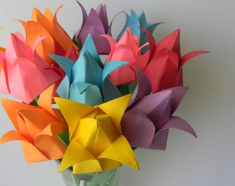Origami tulip arrangement- 12 stems of tulip in rainbow color