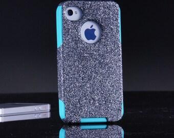 Otterbox Custom iPhone 4 Case, Glitter iPhone 4S Case, iPhone 4 Cover, iPhone 4S Cover, iPhone Cover Smoke Glitter