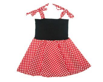 Minnie Mouse Dress, Circle Skirt Dress, Girls Dress, Baby Dress, Toddler Dress, Beach Dress, Summer Dress, Skater Dress, Twirling Dress
