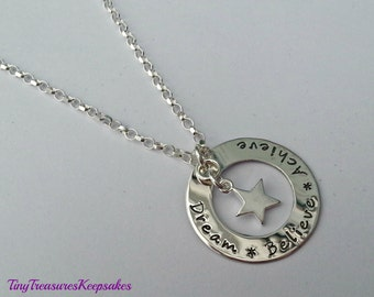 "Sterling silver ""Dream * Believe * Achieve"" hand stamped necklace with star charm"
