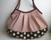 NEW*Granny Bag (Large) - Tote bag - Japanese fabric - Shoulder bag - Pleated bag -Cherry blossom - Sakura - Antique pink - dots - brown