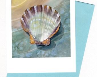Shell Note Card Original Watercolor Sea art